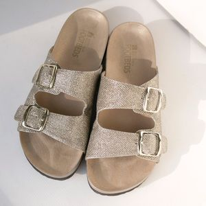 White Mountain Gold Glitter Horizon Sandal